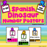 Los Números: Spanish Numbers - Dinosaur  Posters (0-20 with Ten Frames)
