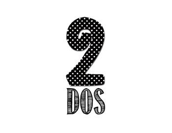 Spanish Number Posters - Chevron & Polka Dots
