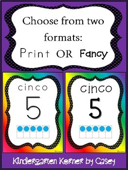 Spanish Number Posters Rainbow Edition 1 to 10 2 Formats Number Sense 10 Frames
