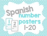 Spanish Number Posters - Teal and gray chevron