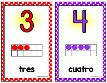 Spanish Number Posters w/ Ten Frames - Small - Polka Dot (0-30)