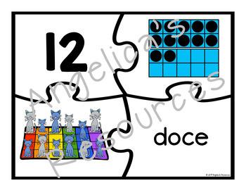 Spanish Numbers: Rompecabezas de Los Números - Counting Cats Puzzles