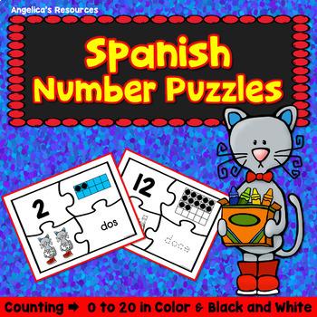 Spanish Numbers: Rompecabezas de Numeros - Counting Cats Puzzles