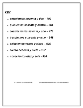 Spanish Number Scramble - Numbers 1-999