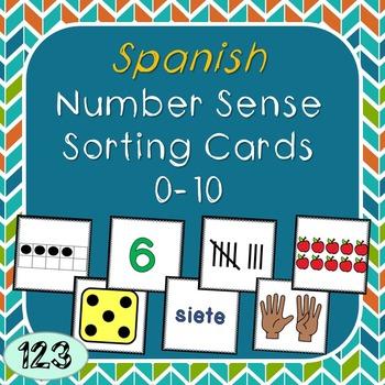 0-10 Number Sense Sorting Cards- Spanish