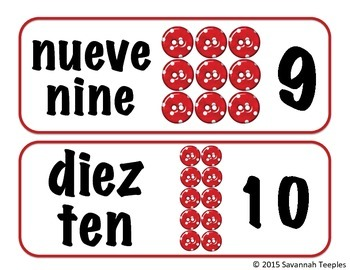 Spanish Number Word Cards