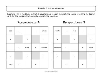 Spanish Number Word Puzzles