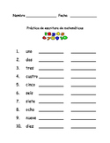 Spanish Number Word Writing Practice