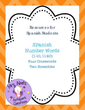 Spanish Number Words Fun Activities