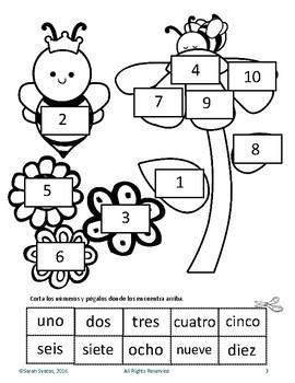 Spanish Numbers 0-10, mazes, laberintos, cut & paste, corta y pega  Bees Spring