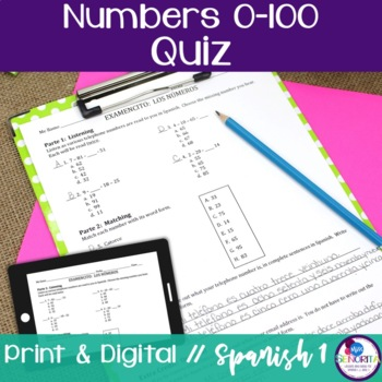 Spanish Numbers 0-100 Quiz