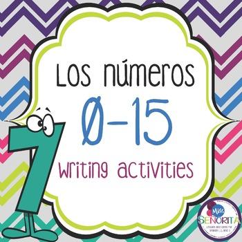Spanish Numbers 0-15 Writing Activities