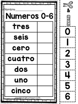 Spanish Numbers 0 20 Los Numeros By Curriculum Castle Tpt