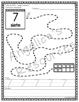 Spanish Numbers 0-20: Los Números - Fine Motor Activity  - Apple Ten Frames