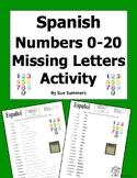 Spanish Numbers 0 - 20 Missing Letters Spelling Worksheet or Quiz