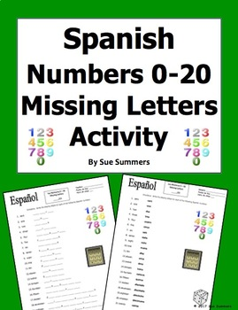 Spanish Numbers 0 - 20 Missing Letters Spelling Worksheet or Quiz