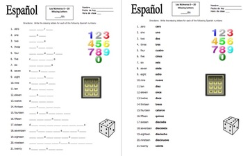 Spanish numbers 0 20 missing letters spelling worksheet or quiz spiritdancerdesigns