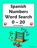 Spanish Numbers 0 - 20 Word Search and Image IDs Worksheet