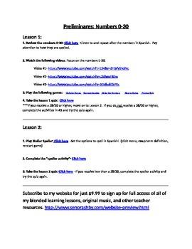 Spanish Numbers 0-30 Internet Activities