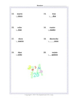 Spanish Numbers 0-30 Math Worksheet