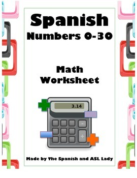 Spanish Numbers 0-30 Math Worksheet