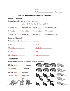 spanish numbers 0 30 worksheet by exploring french and spanish tpt. Black Bedroom Furniture Sets. Home Design Ideas