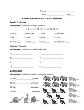 Spanish Numbers 0-30 Worksheet