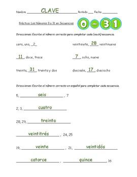 Spanish Numbers 0-31: Sequences // Números 0-31 en Español: Secuencias