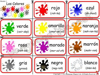Spanish Colours Bingo Colors Bingo By Language Magnet Tpt