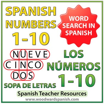 Spanish Numbers 1-10 Word Search