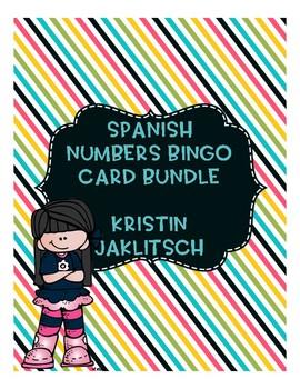 Spanish Numbers 1-100 Bingo Card Bundle