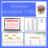 Spanish Numbers 1-100 Digital, Google Slides™ Vocabulary Activities