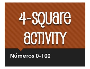 Spanish Numbers 1-100 Four Square Activity