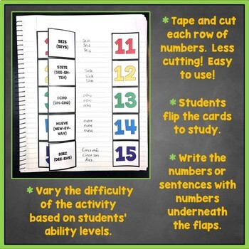 Spanish Numbers 1-100 Flashcards, Interactive Notebook, Números 1-1,000,000