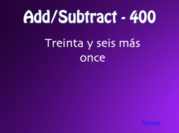 Spanish Numbers 1-100 Jeopardy-Style Review Game