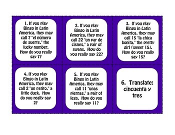 Spanish Numbers 1-100 Task Cards