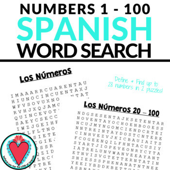 Spanish Numbers Word Search 1- 100 Los Números