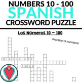 Spanish Numbers 1 - 100 Worksheet - Crossword Puzzle - Spa
