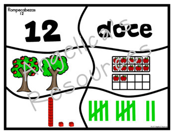 Spanish Numbers 1-20: Apple Counting Puzzles -Rompecabezas de Numeros