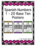 Spanish Numbers 1 - 20 Base Ten Posters