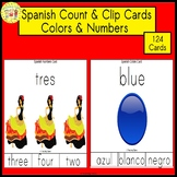 Spanish Numbers and Colors Clip Task Cards