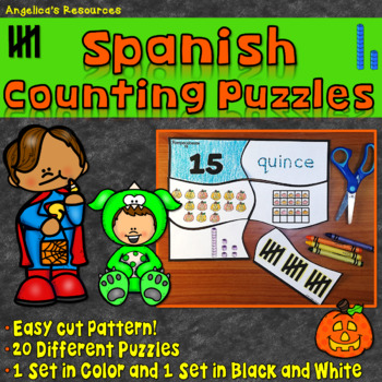 Spanish Numbers 1-20: Halloween Counting Puzzles -Rompecabezas de Números
