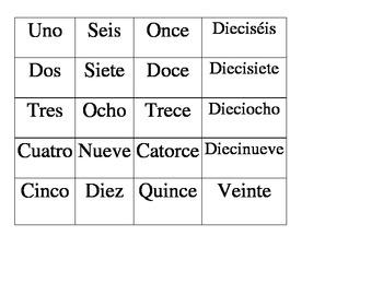 Spanish Numbers (1-20) Matching Game