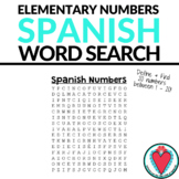 Spanish Numbers Word Search - Elementary Spanish