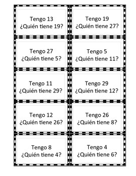 Spanish Numbers 1-30 I have..., Who Has... Game