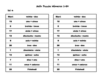 Spanish Numbers 1-30 Math Puzzles