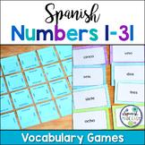 Spanish Numbers 1-31 Vocabulary Games