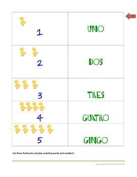 Spanish Numbers 1-5