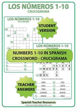 Spanish Numbers 1 to 10 Crossword - Crucigrama
