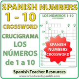 Spanish Numbers 1 to 10 Crossword - Crucigrama